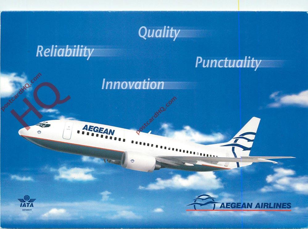 有关以下物品的详细资料: postcard: aegean airlines boeing 737